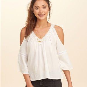 Hollister white lace cold shoulder top